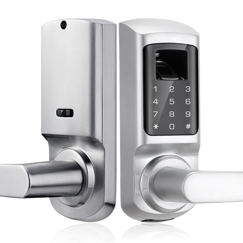 Fingerprint and Touchscreen Keyless Smart Lever Door Lock (Satin Nickel)
