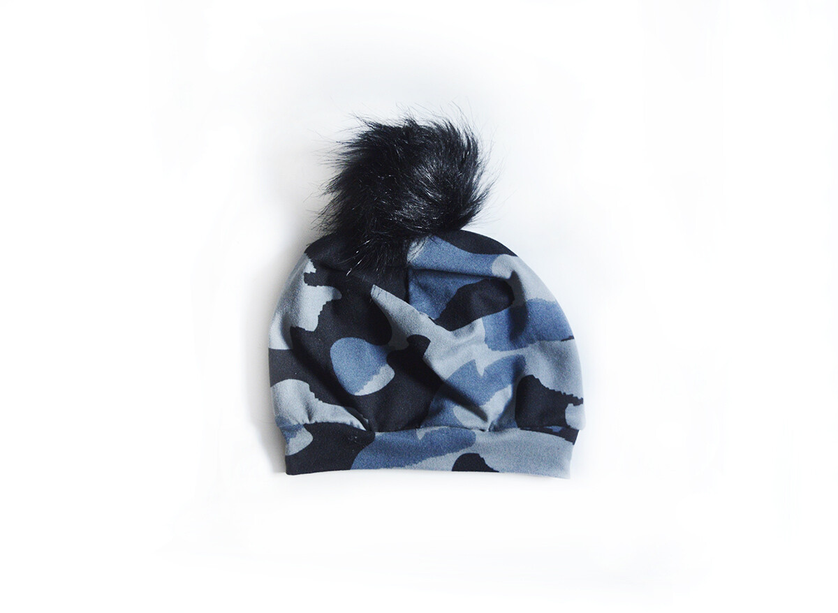 Little Sprout Pom Pom Beanie Hat in Ice Camo