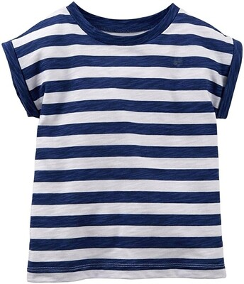 Little Sprout™ Striped navy and white cuffed T shirt   NEW Fall 2019