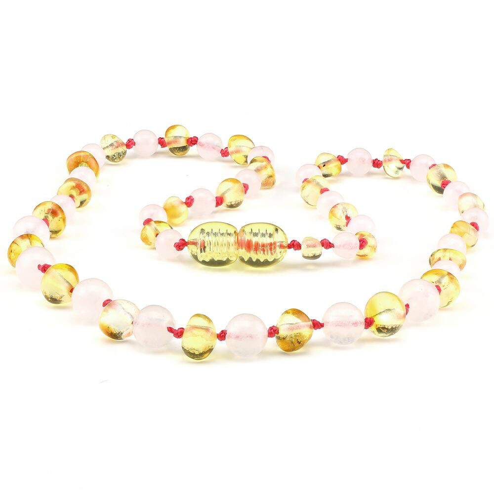 Baltic Pines™ Gemstone & Baltic Amber Teething Necklace or Bracelet - Honey Amber & Rose Quartz