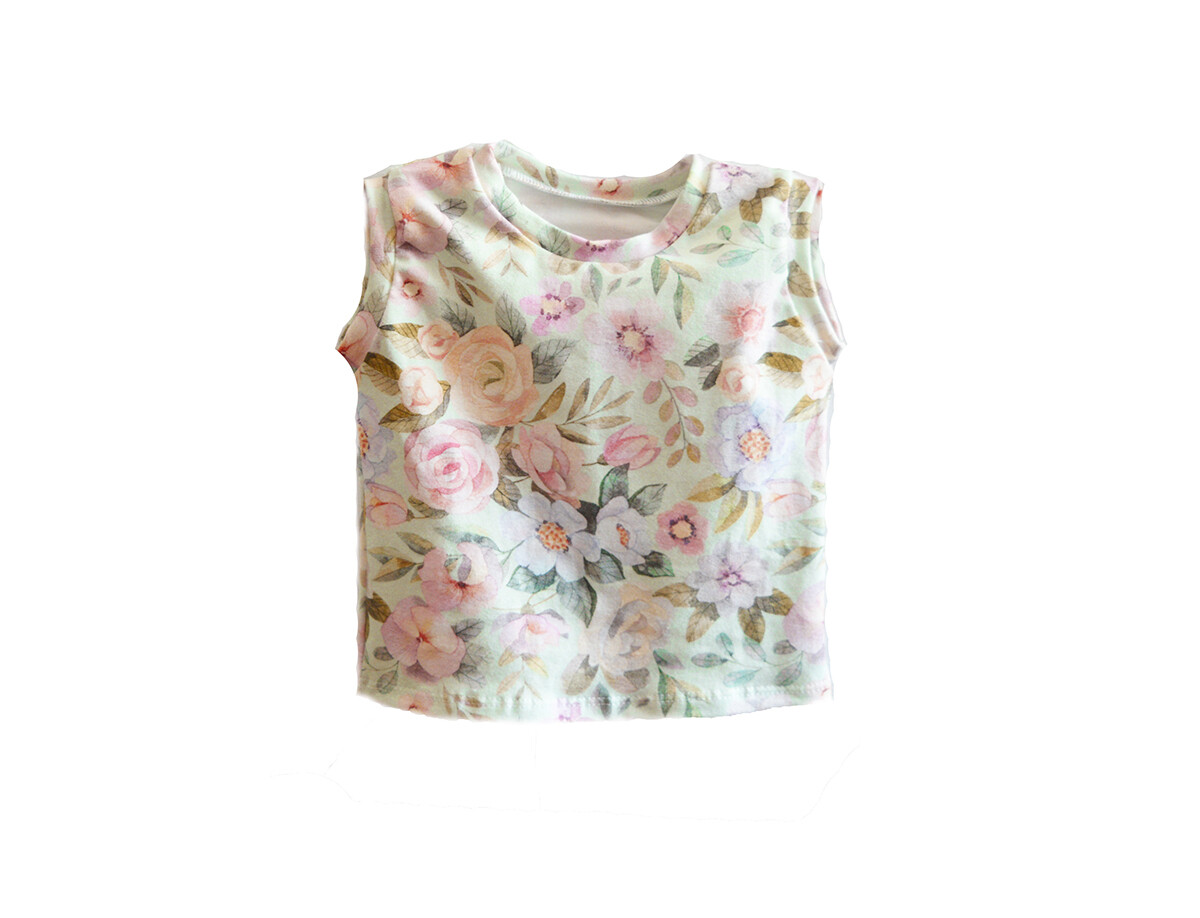 Little Sprout™ Sleeveless Cotton Tank Top -Shirt in Mint Floral