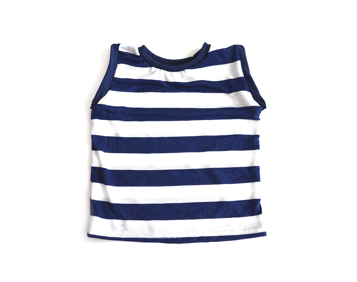 Little Sprout™ Sleeveless Cotton Tank Top -Shirt in Navy Stripe
