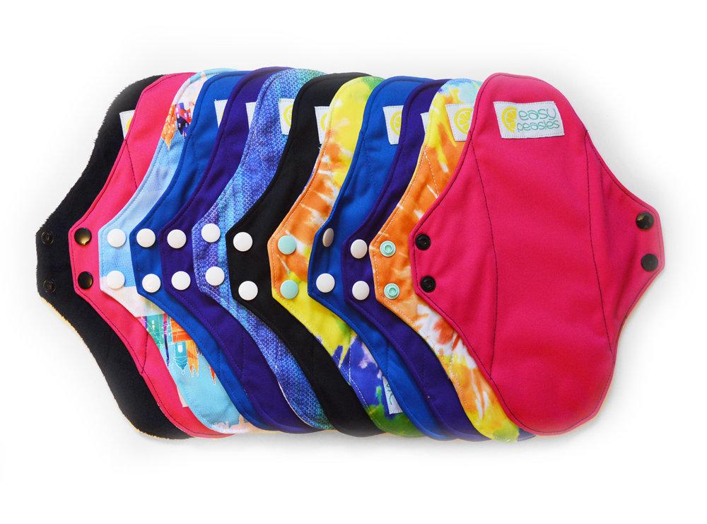 Easy Peasies® Full Kit™ 10 Reusable Menstrual Pad -  Sanitary Napkin Set - Starter Pack