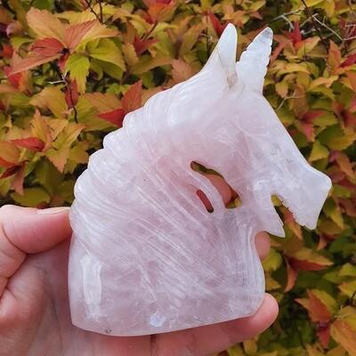 Rose Quartz Unicorn Skull 4