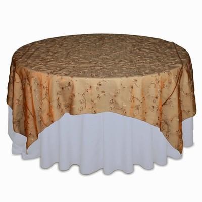 Copper Flower Organza Swirl Table Overlay