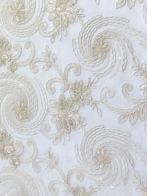 Ivory Floral Lace Table Overlay (J)