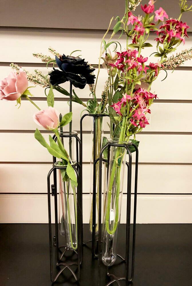 Black Test Tube Bud Vase Holders