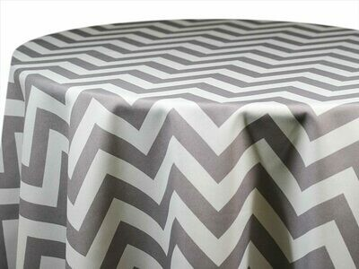 Grey and White Chevron Tablecloth Rentals