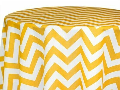 Gold and White Chevron Tablecloth Rentals