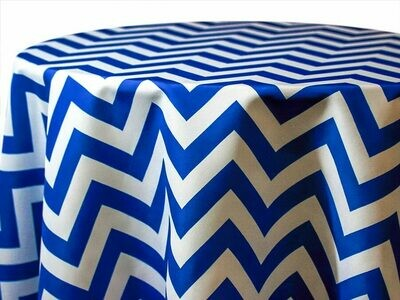 Royal Blue and White Chevron Tablecloth Rentals