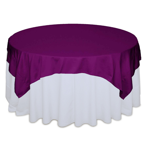 Persian Plum Matte Satin Table Overlays Rental