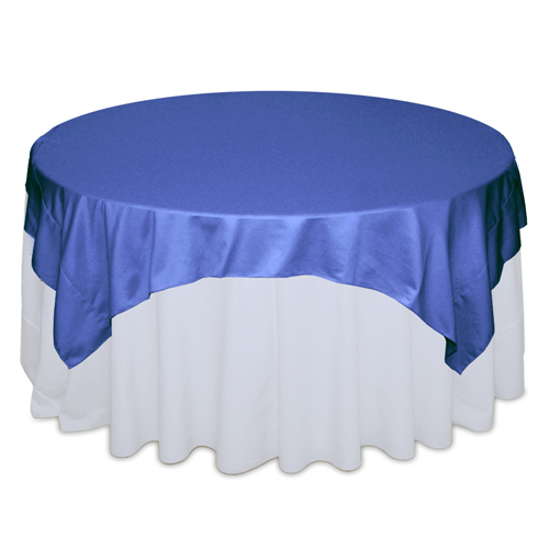 Cornflower Blue Matte Satin Table Overlay Rental