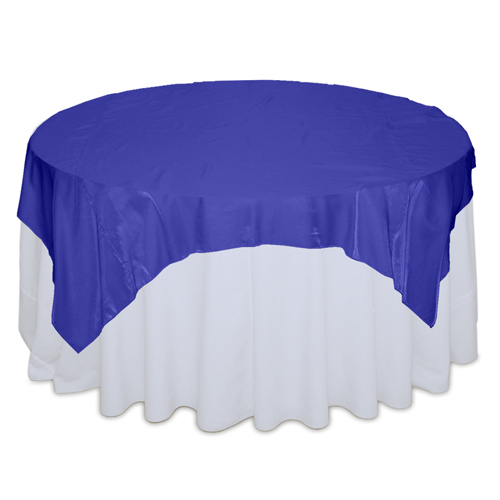 Royal Blue Organza Satin Table Overlay Rental