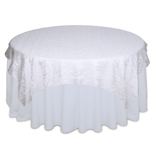 White Organza Swirl Table Overlay Rental
