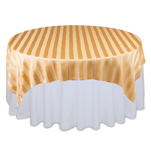 Gold Sheer Stripe Table Overlays Rental