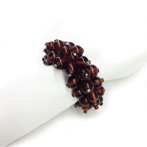 Brown Beaded Napkin Rings l