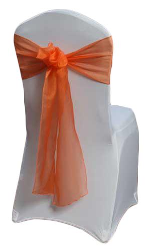 Orange Organza Sheer Sash Rental