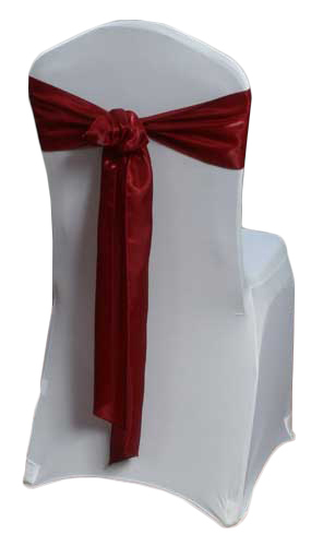 Red Raspberry Organza Satin Chair Sashes