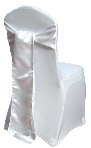 White Satin Chair Sash Rental