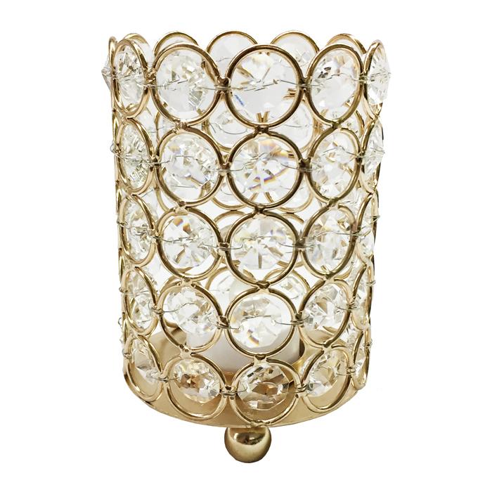 Medium Gold Crystal Gem Pillar Candle Holder Rental