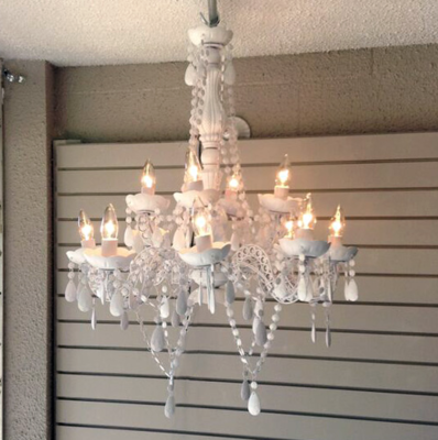 White Chandelier Rental - 8 Lights
