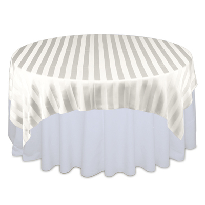 Ivory Sheer Stripe Table Overlays Rental