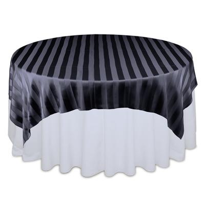 Black Sheer Stripe Table Overlays Rental