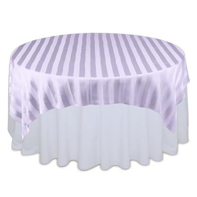Lavender Sheer Stripe Table Overlays Rental