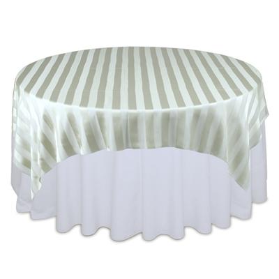 Sage Green Sheer Stripe Table Overlays Rental
