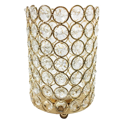Large Gold Crystal Gem Pillar Candle Holder Rental