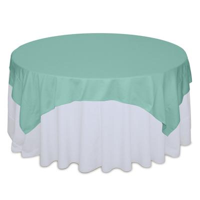 Aqua Matte Satin Table Overlay Rental