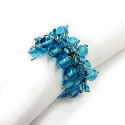 Aqua Beaded Napkin Rings