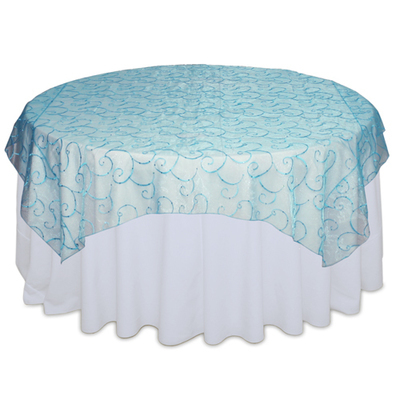 Aqua with Sequins Organza Overlay Rental