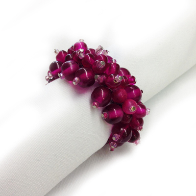 Fuchsia Beaded Napkin Rings