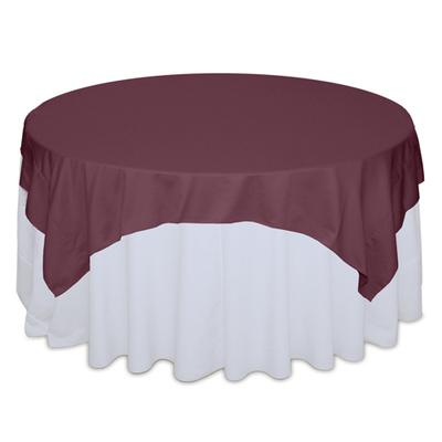 Claret Matte Satin Table Overlay Rental