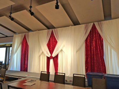 Apple Red Taffeta Glitz Backdrop