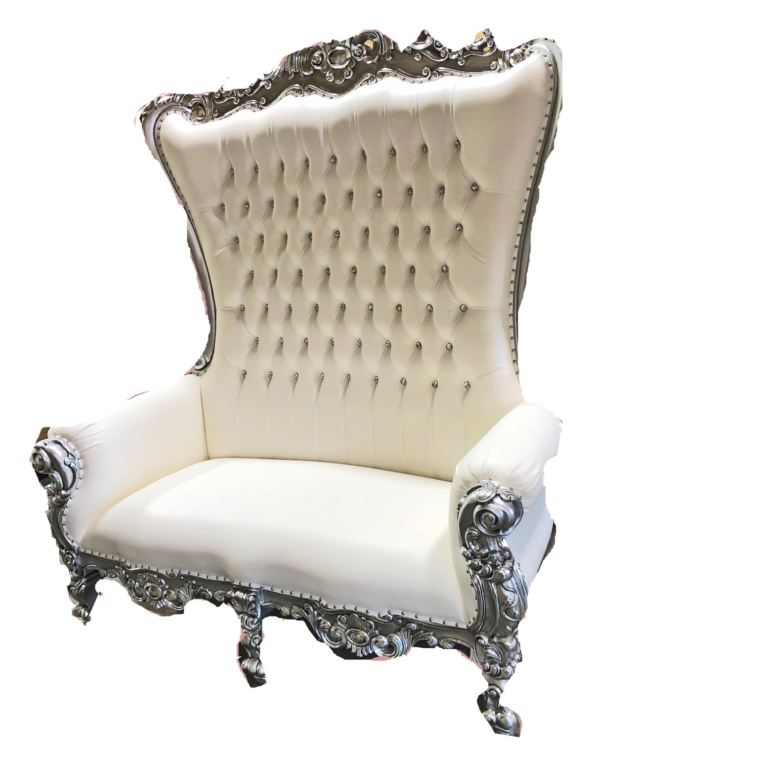 High Back Queen Throne Loveseat - White & Silver