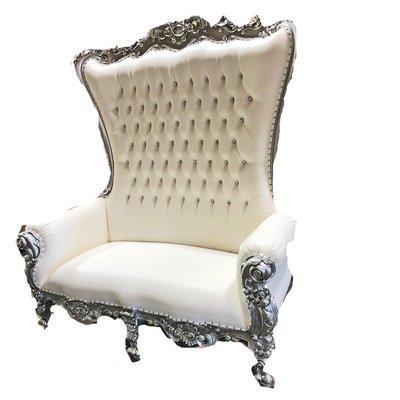 High Back Queen Throne Loveseat - White & Silver