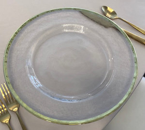 Glass Charger Plates - Gold Rim Hammered