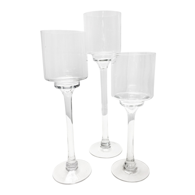 Glass Pedestal Candleholder Rentals, Set of 3