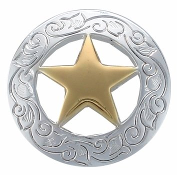 Engraved Ranger Star Concho Silver/Gold Plate 3/4""