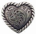 "Heart Rope Edge Concho Silver 1"""