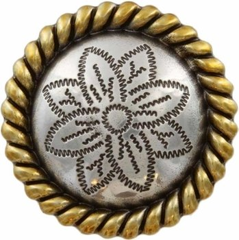 Rope Edge Flower Engraved Concho