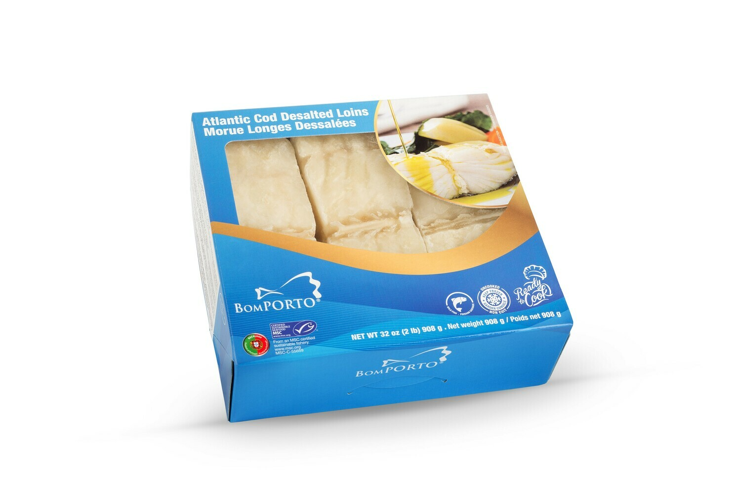 Desalted Bacalhau BomPorto (Norway) -  6 Center Loins (Frozen) (4 lbs) - (Ships Separately - Ship Next Day)