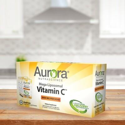 Mega-Liposomal Vitamin C - 32 Single Serve Liquid Packets (0.5 FL OZ/15 ml - 16 OZ/ 480ml) 3000mg Per Serving