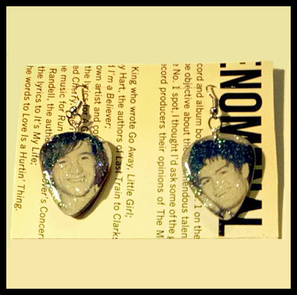 Monkees Guitar Pick Earrings with Peter & Micky