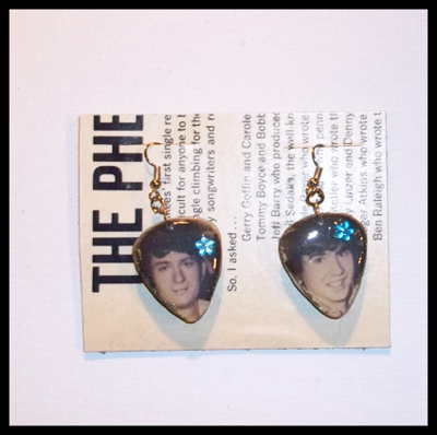 Monkees Guitar Pick Earrings with Mike & Davy