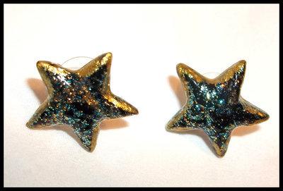 Vinyl Star Stud Earrings