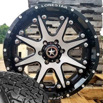 Four 20x9 Gloss Black & Brushed Face Lonestar Bandit Wheels 6 Lug Chevy  285/55