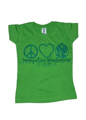 Dark Green Peace & Love T-Shirt